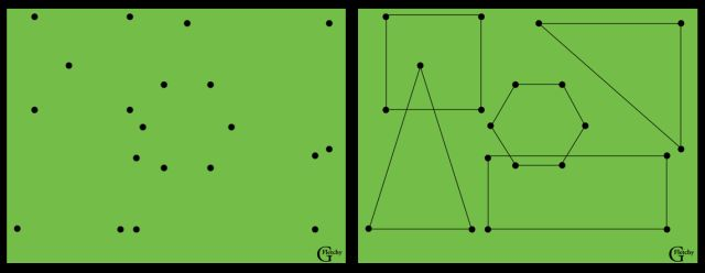 Graham Fletcher designed this puzzle. Erich Friedman does a similar, but more difficult puzzle using all squares at different angles. I love Graham's name for it: Geo-Dotting.