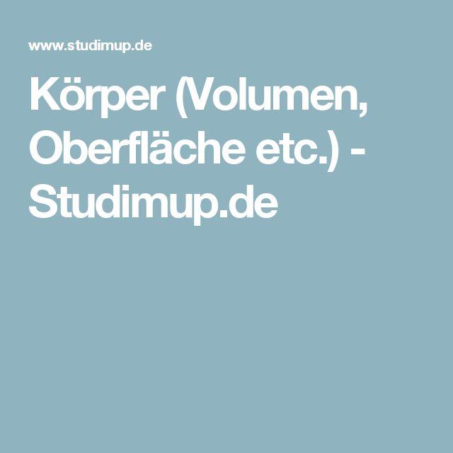 Körper (Volumen, Oberfläche etc.) - Studimup.de