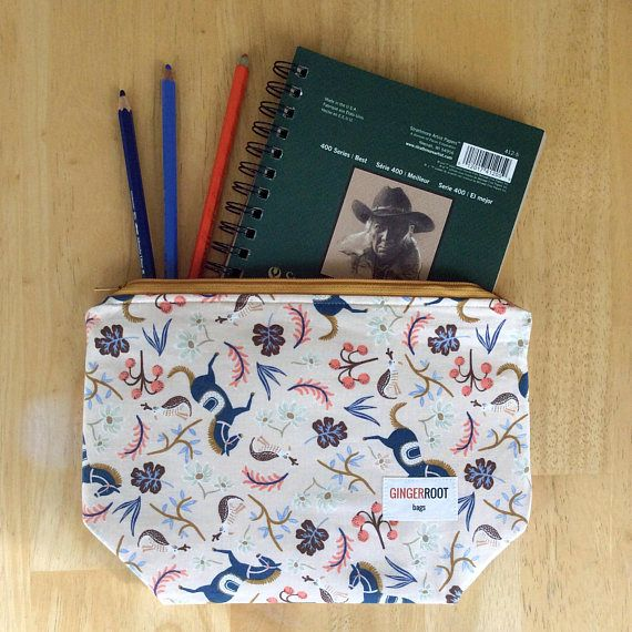 Medium wedge bag. This would be a great knitting project bag, makeup bag, toiletry bag, pencil pouch, bag for crafty supplies, or gift!