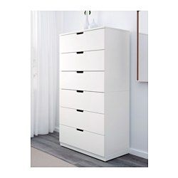 IKEA - NORDLI, 6-drawer chest, , You can use one modular chest of drawers or combine several to get a storage solution that perfectly suits your space.You can easily create your own personal design by mixing chests of different colors.Integrated damper catches the running drawer and closes it slowly, silently and softly.The concealed drawer runners ensure that drawers run smoothly even when heavily loaded.Adjustable feet make it possible to compensate for any irregularities in the floor.