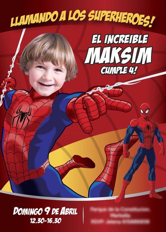 Ejemplo. Invitacion Spiderman en español. Sí tienes una buena foto de tu niño y el es fanático del increible Spiderman: Conviértelo en Hombre Araña para que sea el protagonista de su Invitación de Cumpleaños. Ideas Personalizadas Hombre Araña. Invitación con Foto y Spiderman. #myheroathome #spidermanespanol #spidermanspanish #cumplespiderman - Visit to grab an amazing super hero shirt no