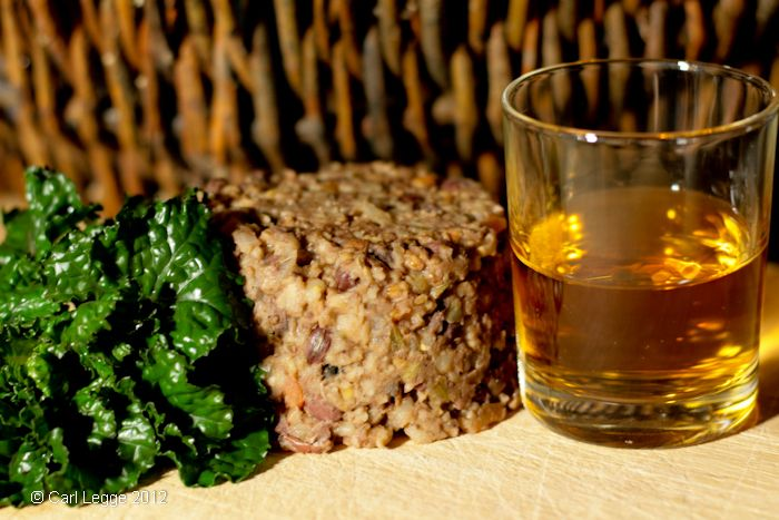 """Vegetarian haggis:  This was genuinely DELICIOUS, and I'd make it even if it weren't Robert Burns Night.  The friend who made it used pine nuts instead of the suggested ones, and a variety of mushrooms.  He used steelcut for """"pinhead"""" oats."""