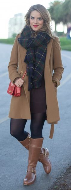 camel peacoat + brown leather boots