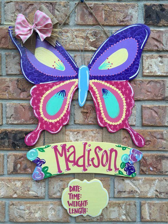 Butterfly door hanger baby door hanger by Louisianabluebird