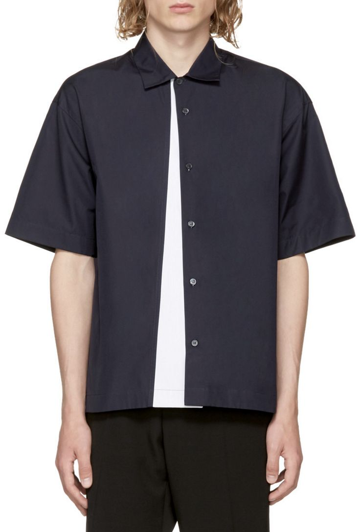 Marni Navy Panelled Sport Shirt from SSENSE (men, style, fashion, clothing, shopping, recommendations, stylish, menswear, male, streetstyle, inspo, outfit, fall, winter, spring, summer, personal)