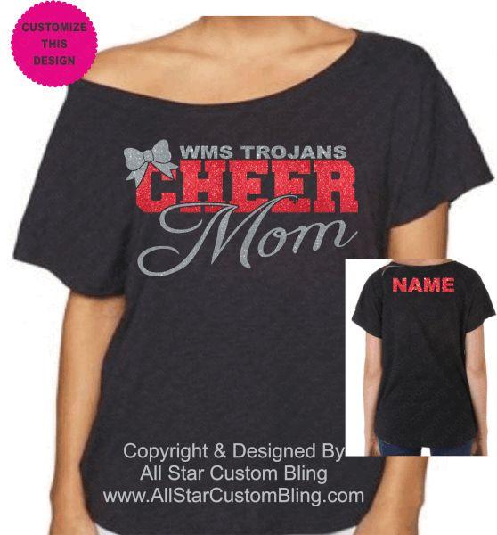 Custom Cheer Mom Shirt, Cheer Mom Bling Shirt, Personalized Cheer Shirt, Glitter Cheer Mom Shirt, Cheer Mom Chevron Shirt, Bling Cheer Mom Shirt,Mom Cheer Shirt