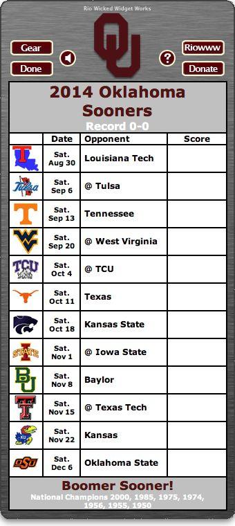 BACK OF WIDGET - Free 2014 Oklahoma Sooners Football Schedule Widget - Boomer Sooner! - National Champions 2000, 1985, 1975, 1974, 1956, 1955, 1950   http://riowww.com/teamPages/Oklahoma_Sooners.htm