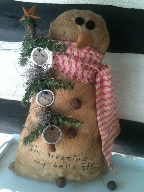 Primitive Snowman With Rusty Bells