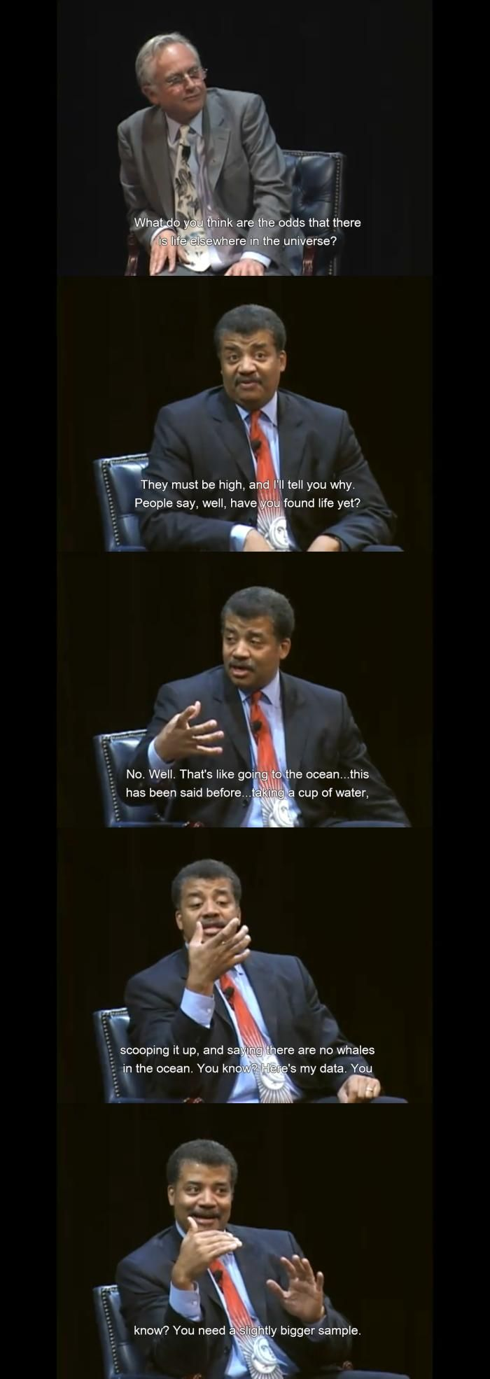 Persuasive Texts/Rhetorical Devices: Argument by analogy. Physicist Neil deGrasse Tyson uses an analogy to explain why although the odds of alien life are so high, we haven't found any evidence.