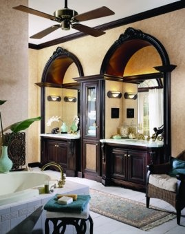 Fabulous West Indies Bath...  LIKE RECESSED SINK  IDEA..BUT DO NOT LIKE CABINET BETWEEN SINKS