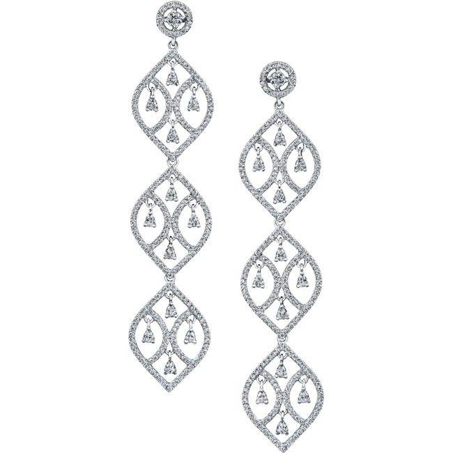 18k White Gold Pear Shaped Diamond Chandelier Earrings  NK18029-W #jewelry #earrings #diamond