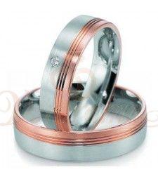 Βέρες γάμου από πλατίνα και ρόζ χρυσό με διαμάντι Breuning 9021-9022