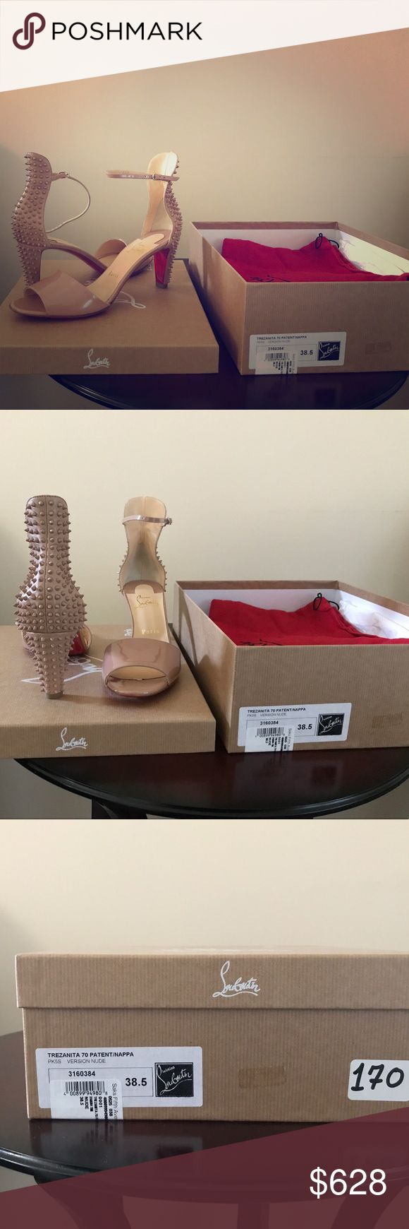 Christian Louboutin Trezanita 79 Patent/Nappa Brand New Christian Louboutin Trezanita 79 Patent/Nappa 38.5 with sole protectors already out on both shoes. Christian Louboutin Shoes Sandals