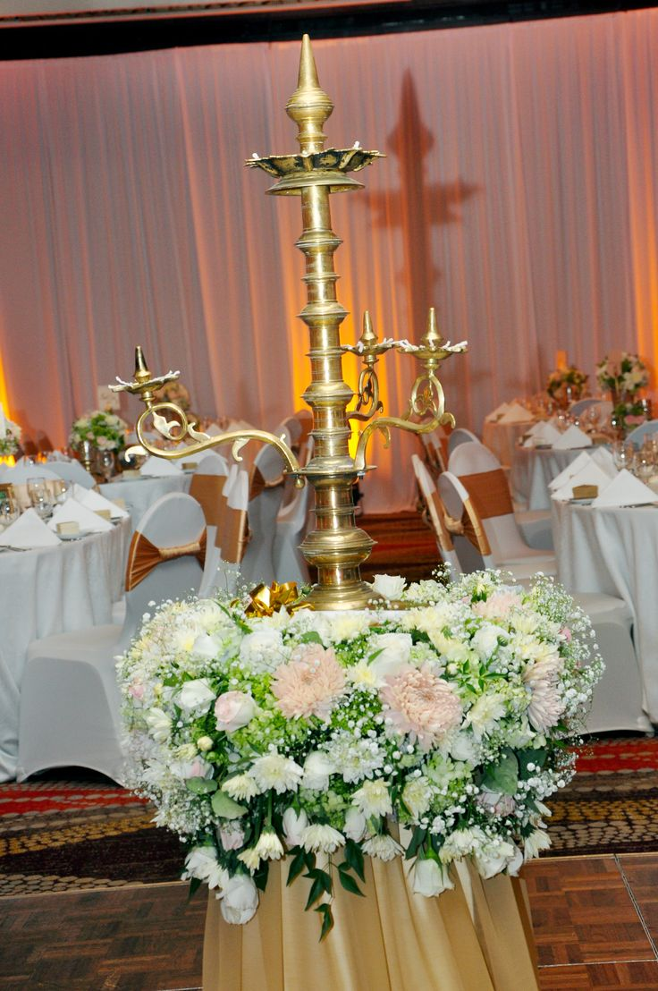 The Traditional Oil Lamp Decorated With Flowers At Ayanthi S And Asela S Wedding At The Oak Room