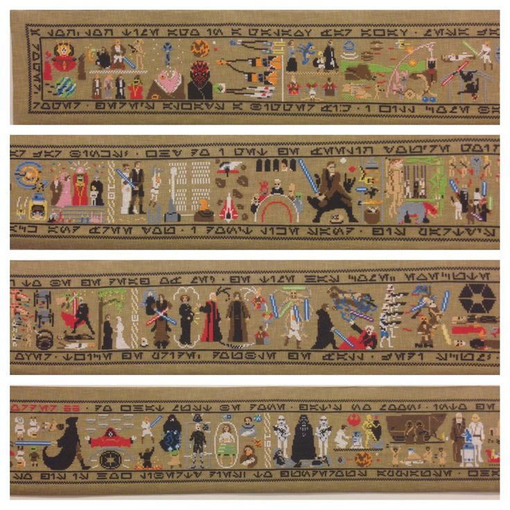 Wow. The entire Star Wars saga, cross-stitched by hand!