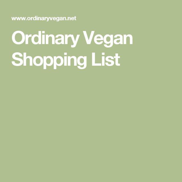 Ordinary Vegan Shopping List