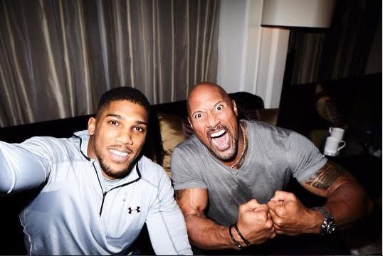 Anthony Joshua The Rock and Kevin Hart do promo-shoot together (photos)