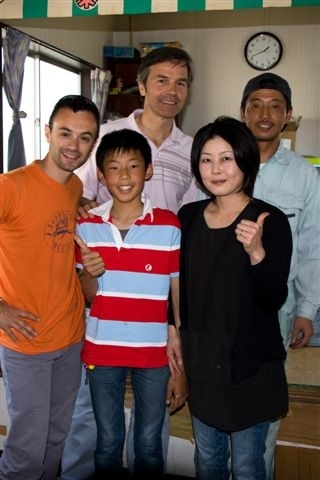 The Nagatas with a French TV crew who filmed them for a documentary on tea.