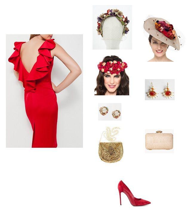 look boda día vestido rojo