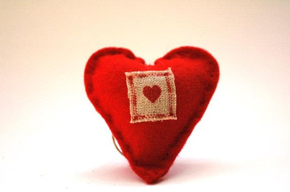 Simple Red Heart with Linen Detail Christmas by TheNataleStore, $6.70