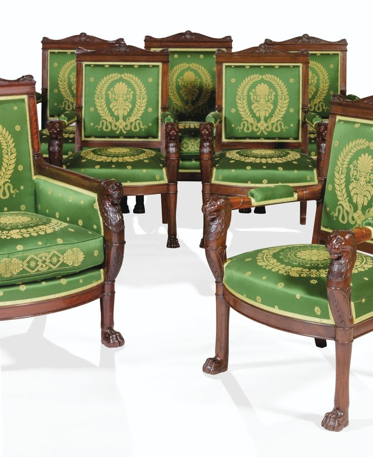 1803 181 Empire Carved Mahogany Suite Of Carved Mahogany Chairs: Two  Bergères And Four