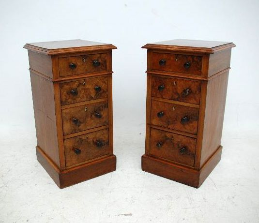 Pair of antique Victorian Burr Walnut bedside chests. These chests are all original, but have been reconstructed from a Victorian desk. They are really exquisite & hard to find in pairs. The moulded tops are burr walnut with walnut crossbanding & the drawer fronts are also burr walnut. They have a wonderful colour & the figuring in the burr walnut is really nice.