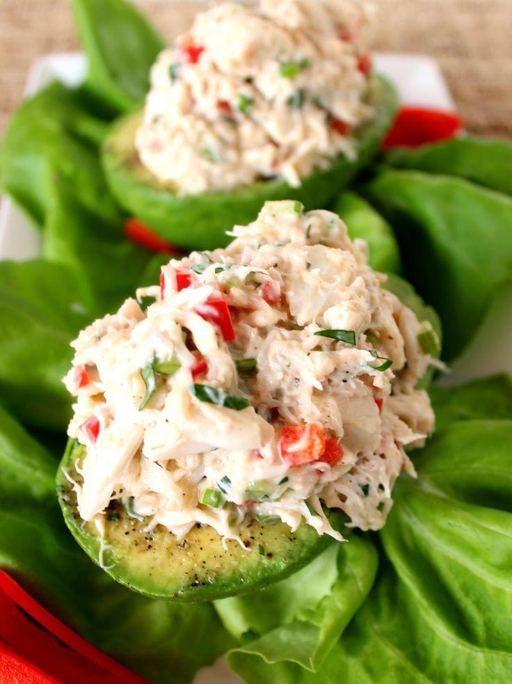 Crab Salad Stuffed Avocado Recipe via Kudos Kitchen By Renee