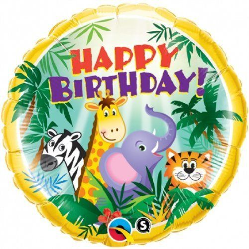 "PIONEER BALLOON COMPANY B'day Jungle Friends Pack, 18"", Multicolor"