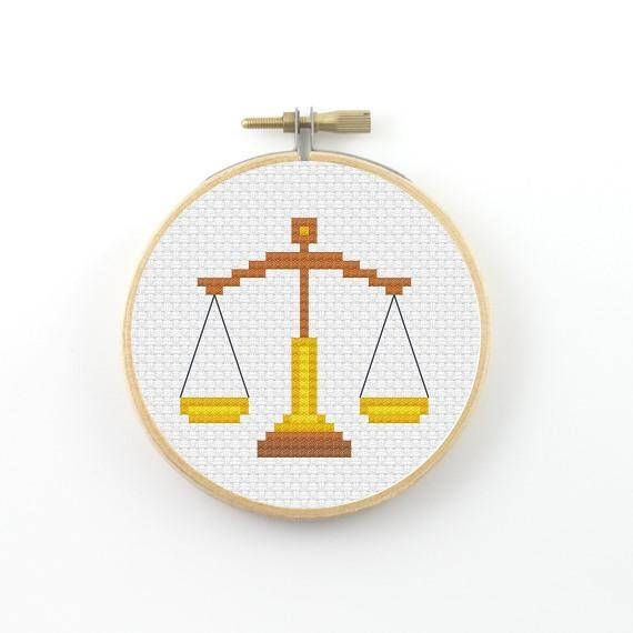 The scales cross stitch pattern Libra cross stitch Libra