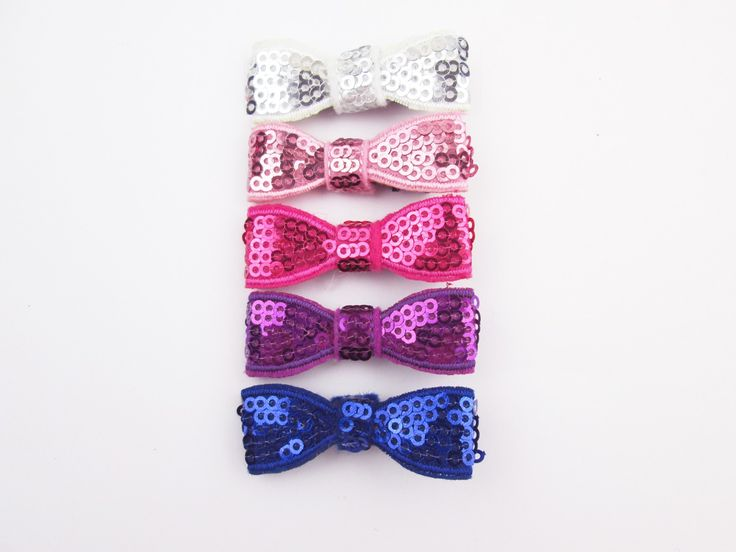 Mini Latch Sequins Tuxedo Bows Set - Princess Party #glitterhairbows #hairclipsfortoddlers
