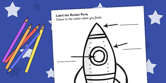 Space Rocket Labelling Sheet - space, rocket, labels, sheet