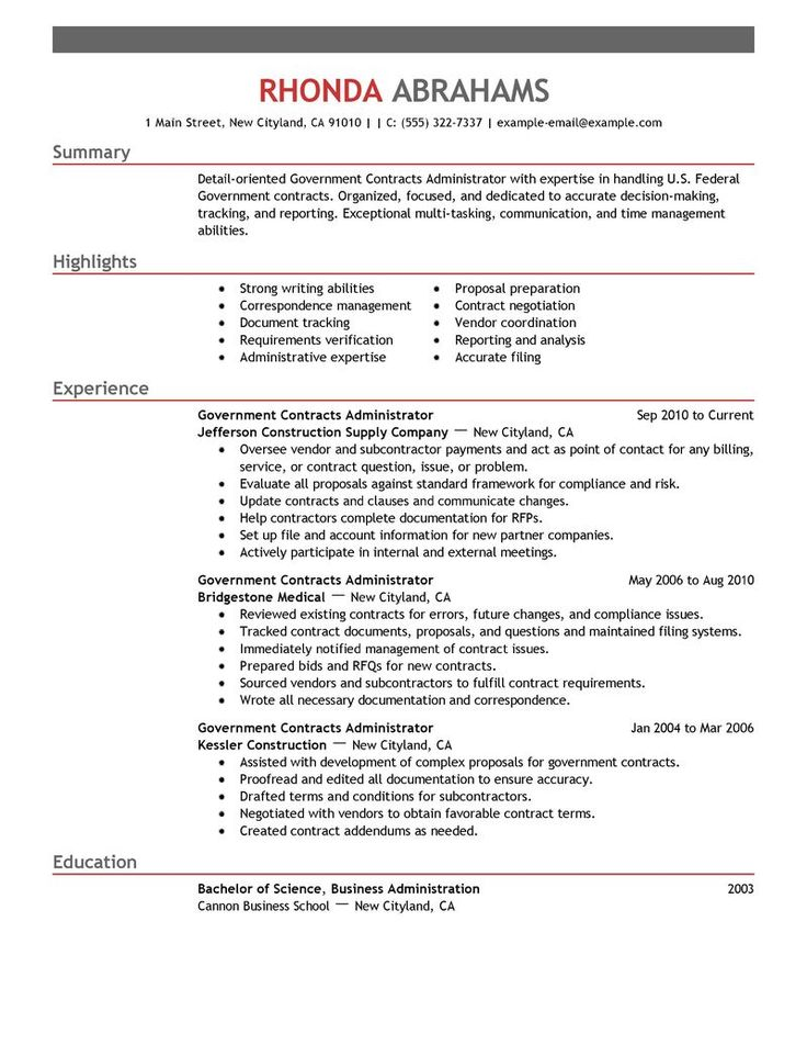 Format Resume. Government & Military Resume Examples | Government
