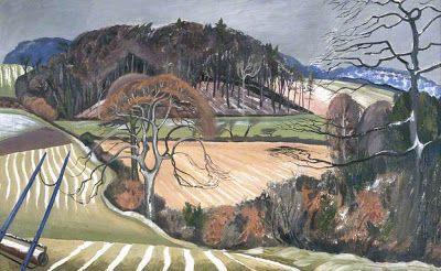 "John Nash, ""Winter Scene, Buckinghamshire"" (1920) Oil or watercolour?"
