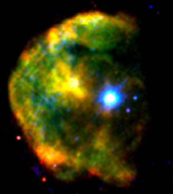 Super-dense star is first ever found suddenly slowing its spin - The magnetar 1E 2259+586 shines a brilliant blue-white in this false-color X-ray image of the CTB 109 supernova remnant, which lies about 10,000 light-years away toward the constellation Cassiopeia. -  http://phys.org/news/2013-05-cosmic-glitch-super-dense-star-suddenly.html#jCp