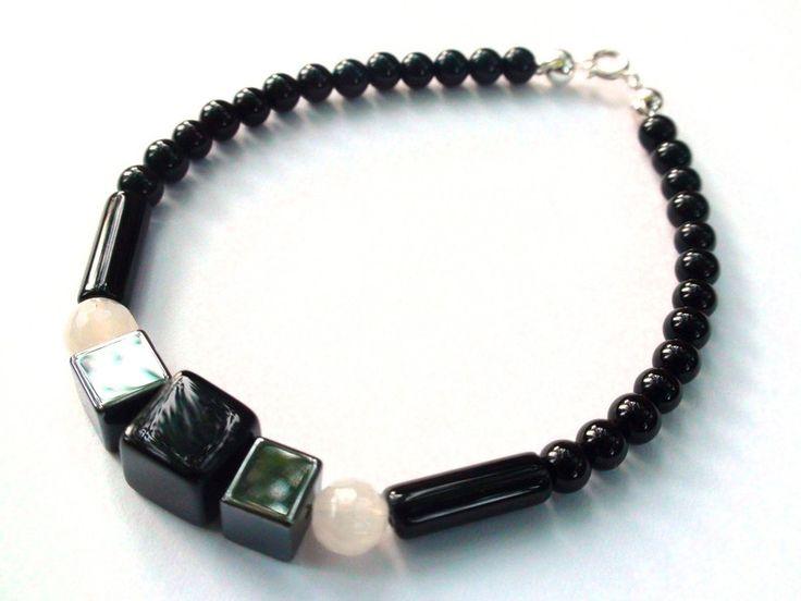 Mens Bracelets – Mens Bracelet - Onyx, hematite, agate, 925 silver – a unique product by OlgaJewelryBoutique on DaWanda