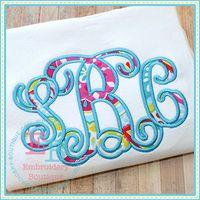 Satin Elegant Vine Applique Alphabet from embroidery boutique