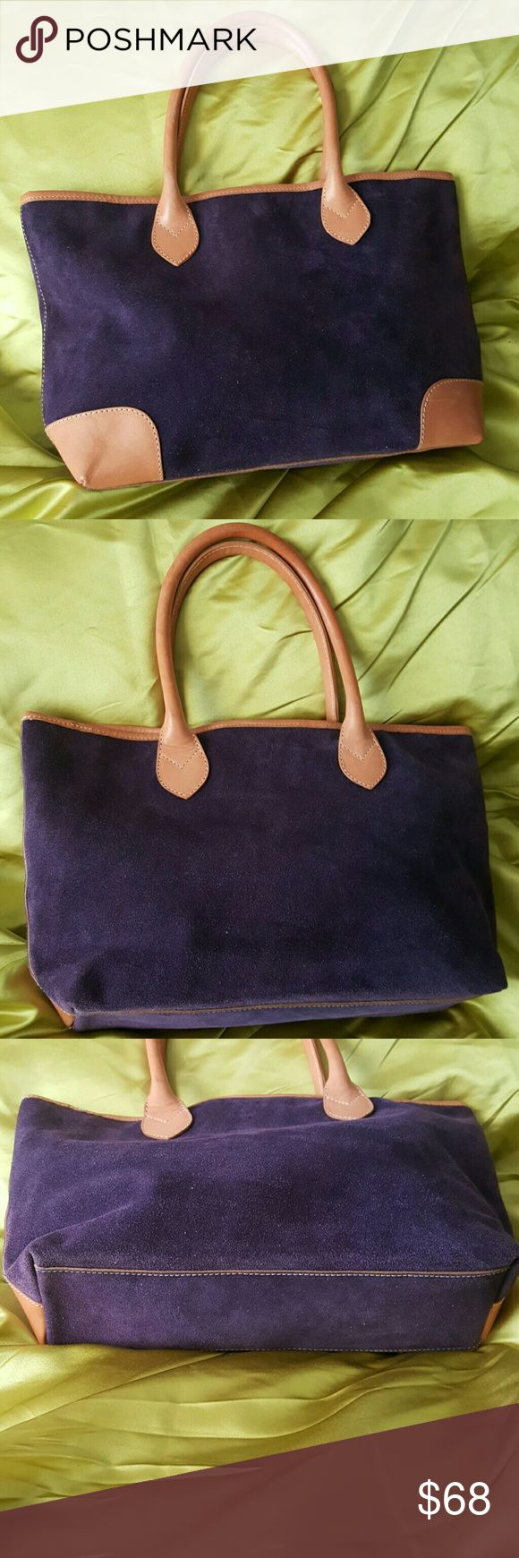 Suede Italian Handbag Soft purple suede exterior with fine Italian  tan leather detail. The interior is very clean. Made in Italy. Bags Totes