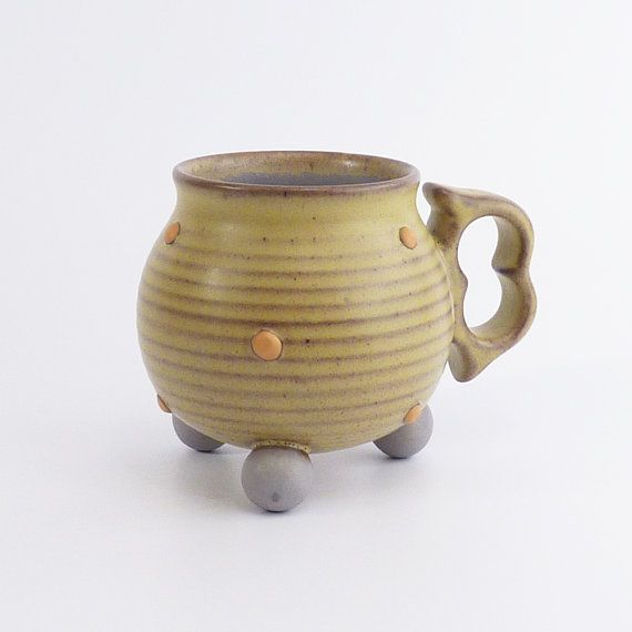 Hey, I found this really awesome Etsy listing at https://www.etsy.com/listing/488120838/stoneware-tripod-mug-muted-green-and