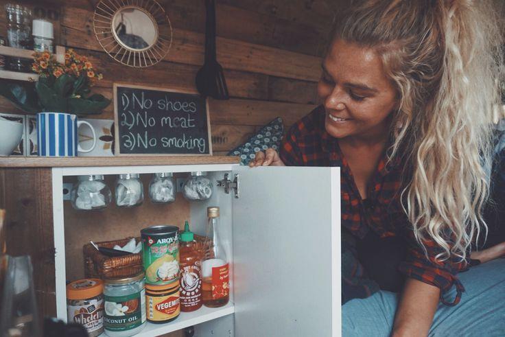 Van cupboards @sloopemc #condiments #vanlife #vanlifediaries #girl #blonde #campervan #vwcampervan #storage #vanideas #tinyhome #solutions