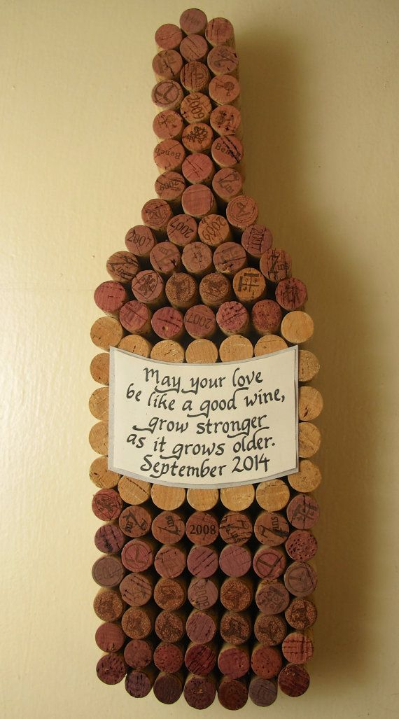 Handmade Wine Cork Wine Bottle Cork Board with Hand Cut Label, Personalized Calligraphy Quote, Add Date for Wedding or Anniversary