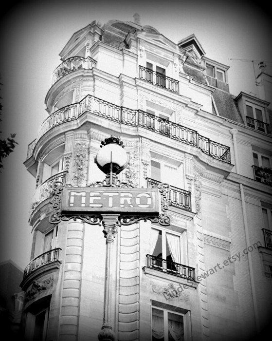 Paris Paris Wall Art Black and white Paris Print by LindeStewart