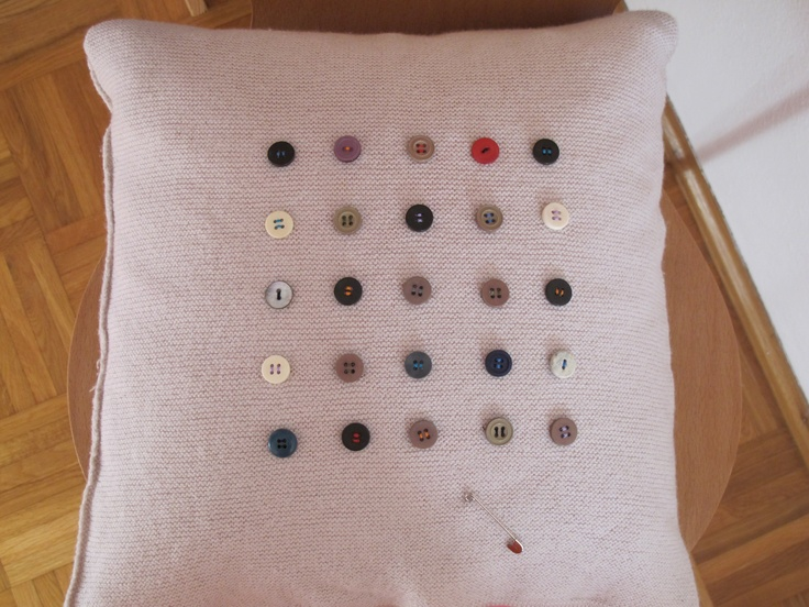 ald buttons and my favourite jumpers' new life as a beloved deco pillow