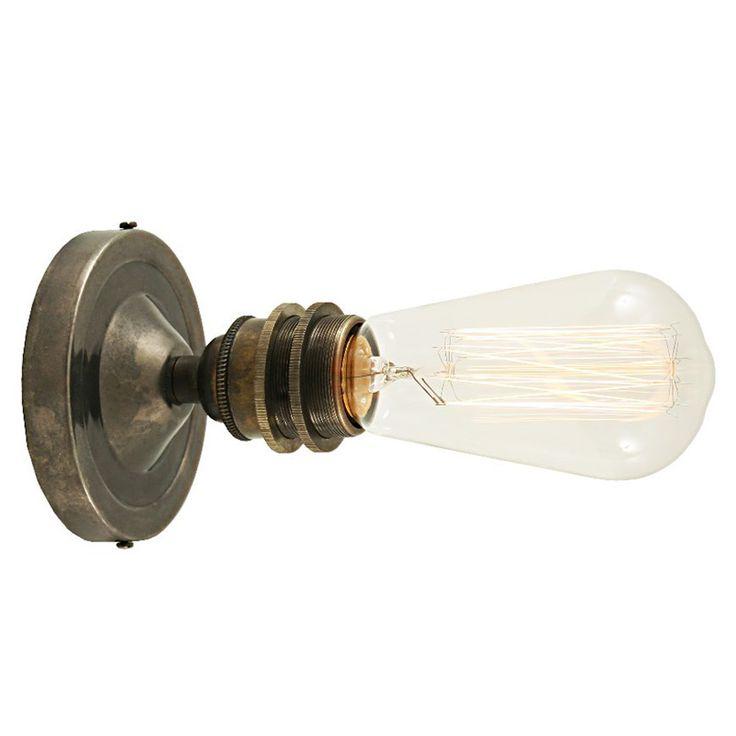 """Einfache Fassungs-Wandleuchte aus Kupfer oder Messing von Aire Lighting: Wandleuchte mit antiker Anmutung (mit """"Edison""""-Lampe, """"Alt-silbern patiniert"""")"""