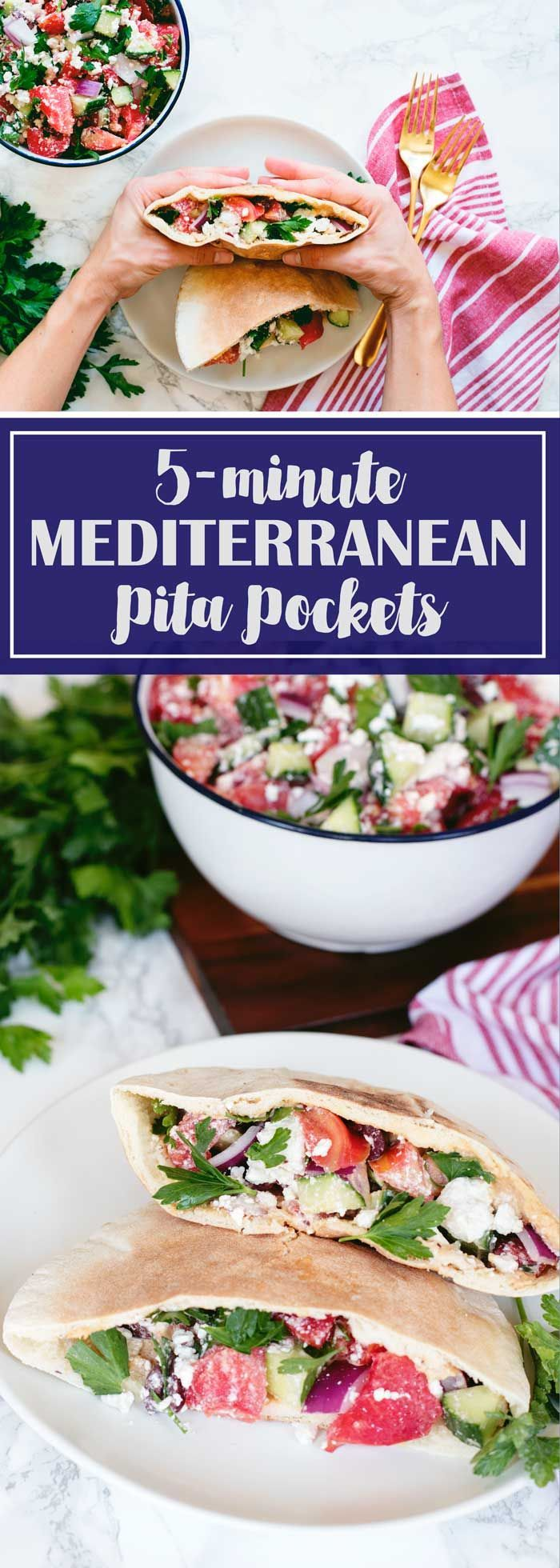 5-MINUTE Meal :: Mediterranean Pita Pockets with tomatos, feta, cucumbers, and hummus - healthy and delicious!