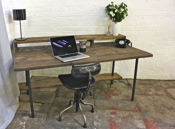Tovey Reclaimed Dark Stained Scaffolding Board and Pipe Industrial Style Desk with Top and Lower Under Shelves - by www.inspiritdeco.com