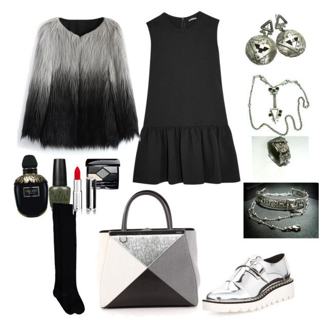 """Silver negative"" by silverchamberjewelleryuk on Polyvore featuring Miu Miu, STELLA McCARTNEY, Fendi, Chicwish, Christian Dior, Alexander McQueen and Givenchy"