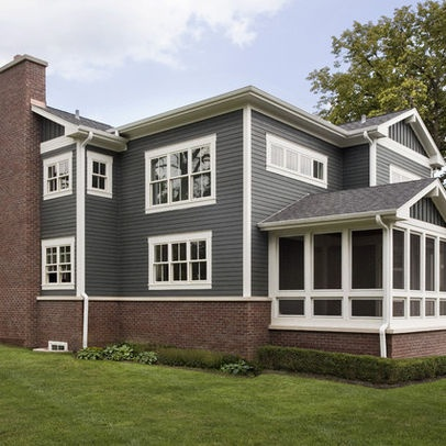Red brick grey blue siding white trim lovely homes for Blue house builders