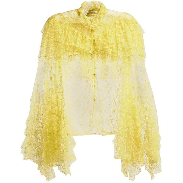 Rodarte Ruffle-trimmed high-neck floral-lace blouse ($2,275) ❤ liked on Polyvore featuring tops, blouses, yellow, long blouse, beige blouse, lace top, lace blouses and sheer floral blouse