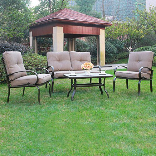 cloud mountain 4 piece patio conversation set cushioned outdoor garden furniture wrought iron coffee table love seat sofa 2 chairs gradient brown