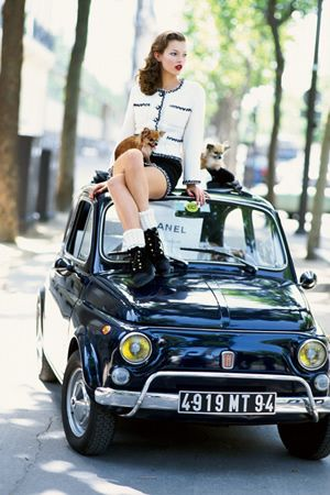 Girl with dog on Fiat